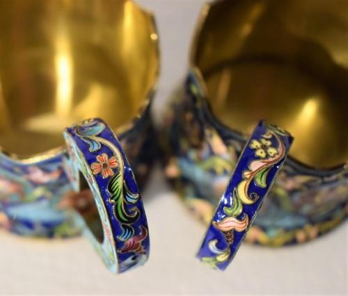 Antiquités - 6 tea cups, Golden Silver and enamels,  Moskow 1908