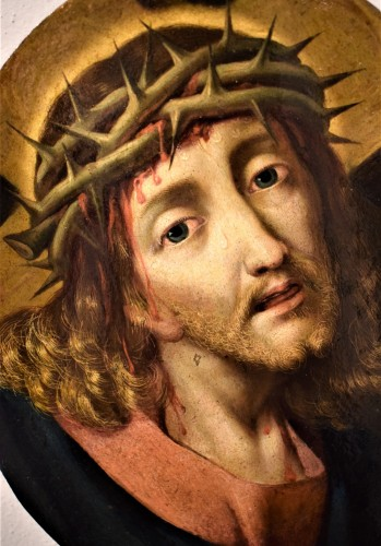 """Michael Coxie (Malines 1499-1592) """"Face of Christ"""" - Paintings & Drawings Style Renaissance"""