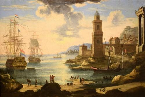 """Port Scene"" Horace Grevenbroeck (Paris 1670-1743) workshop - Paintings & Drawings Style Louis XIV"