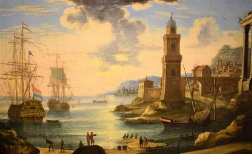 """Paintings & Drawings  - """"Port Scene"""" Horace Grevenbroeck (Paris 1670-1743) workshop"""
