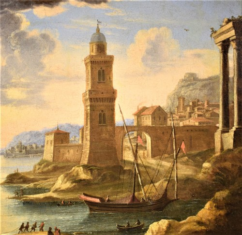 """Louis XIV - """"Port Scene"""" Horace Grevenbroeck (Paris 1670-1743) workshop"""