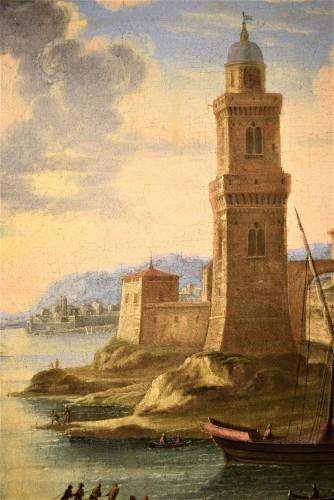 """Antiquités - """"Port Scene"""" Horace Grevenbroeck (Paris 1670-1743) workshop"""