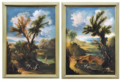 Pair of italian landscapes dated 1709  - Antonio Francesco Peruzzini (1643 - 1724)