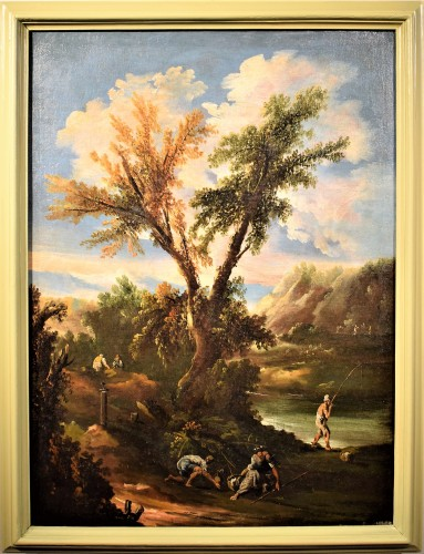 Pair of italian landscapes dated 1709  - Antonio Francesco Peruzzini (1643 - 1724) - Paintings & Drawings Style Louis XIV