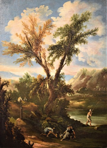 Paintings & Drawings  - Pair of italian landscapes dated 1709  - Antonio Francesco Peruzzini (1643 - 1724)