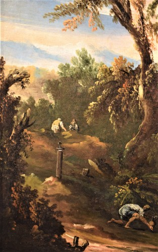Pair of italian landscapes dated 1709  - Antonio Francesco Peruzzini (1643 - 1724) - Louis XIV