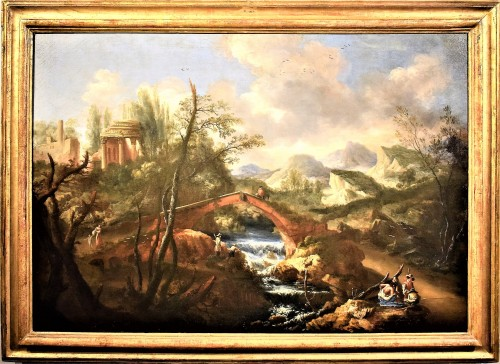 """Landscape with Ruins, Bridge and Stream"" Italian School of 17th."