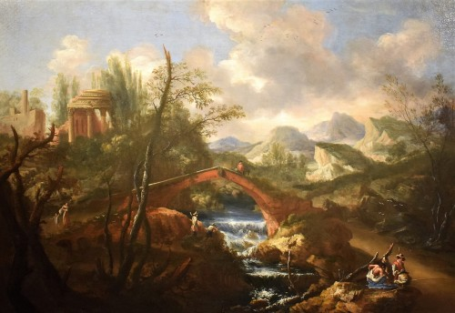 """""""Landscape with Ruins, Bridge and Stream"""" Italian School of 17th. - Paintings & Drawings Style Louis XIV"""