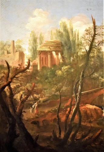"""Paintings & Drawings  - """"Landscape with Ruins, Bridge and Stream"""" Italian School of 17th."""