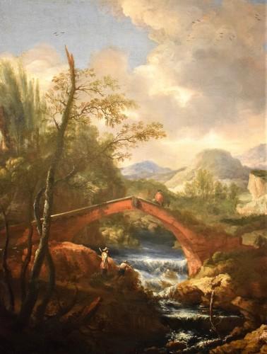 """Landscape with Ruins, Bridge and Stream"" Italian School of 17th. -"
