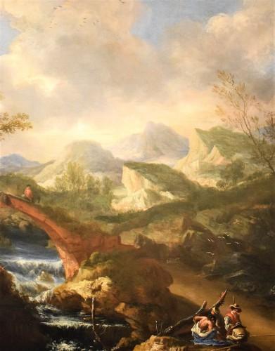 "17th century - ""Landscape with Ruins, Bridge and Stream"" Italian School of 17th."
