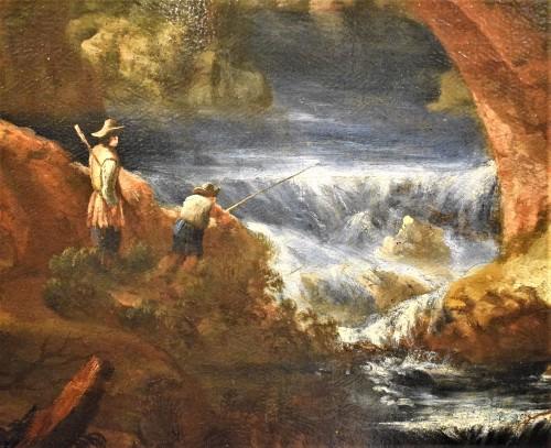 """Landscape with Ruins, Bridge and Stream"" Italian School of 17th. - Louis XIV"
