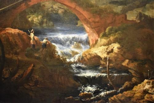 "Louis XIV - ""Landscape with Ruins, Bridge and Stream"" Italian School of 17th."