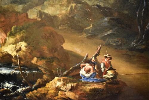 "Antiquités - ""Landscape with Ruins, Bridge and Stream"" Italian School of 17th."