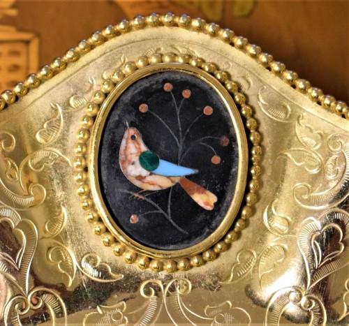 """Napoléon III - Plate of gild bronze and """"Pietre Dure"""", Souvenir de """"Grand Tour"""""""