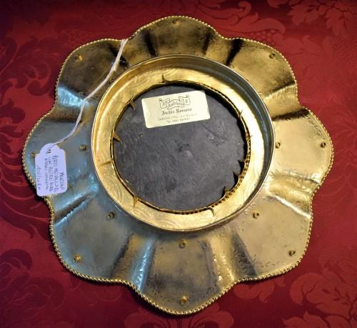"""Antiquités - Plate of gild bronze and """"Pietre Dure"""", Souvenir de """"Grand Tour"""""""