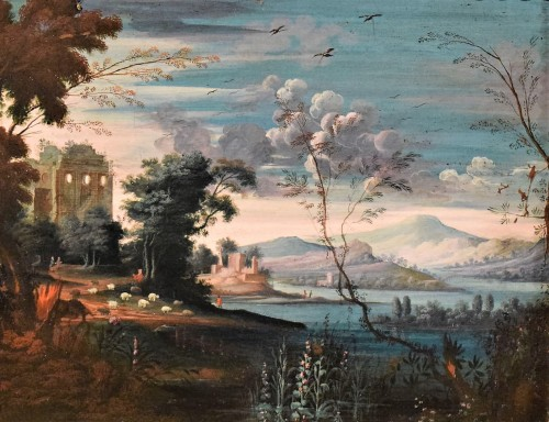 "Fantastic landscape ""Capriccio"" Flemish school of 17th"