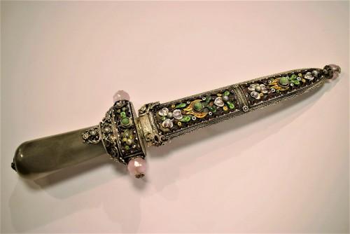 Poignard en argent et émaux, Art Caucasien-Russe du XIXème - Collectibles Style