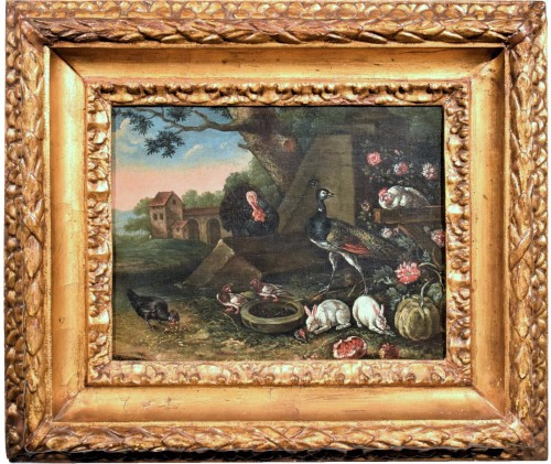 Courtyard Whit animals and flowers Flamish school 17th. century