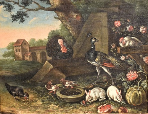 Courtyard Whit animals and flowers Flamish school 17th. century - Paintings & Drawings Style Louis XIV