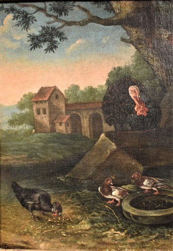 Courtyard Whit animals and flowers Flamish school 17th. century -