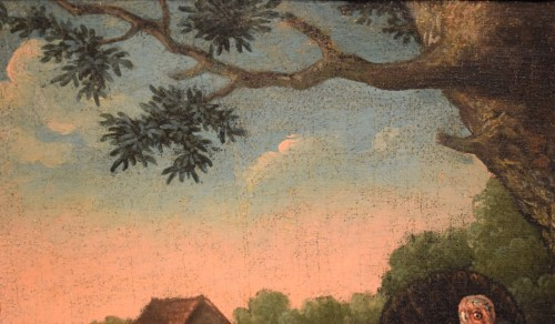 Louis XIV - Courtyard Whit animals and flowers Flamish school 17th. century