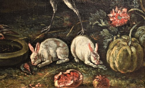 Antiquités - Courtyard Whit animals and flowers Flamish school 17th. century