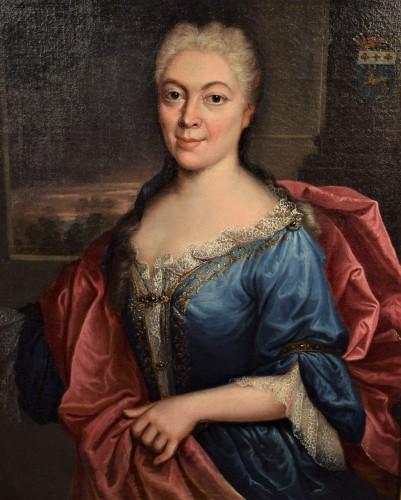 Pair de Portraits, Workshop of Nicolas de Largillière 17th century - Paintings & Drawings Style Louis XV
