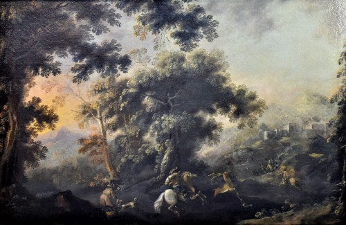 Pandolfo Reschi (1624-1699) - Deer Hunting - Paintings & Drawings Style Louis XIV