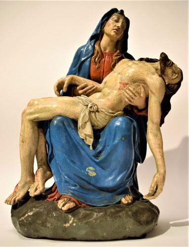 Pietà polychromed terracotta, Italy Bologna circa 1750 - Sculpture Style Louis XV