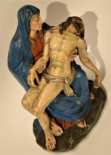 18th century - Pietà polychromed terracotta, Italy Bologna circa 1750