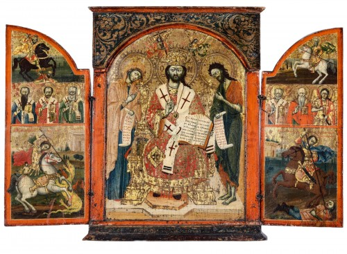 "Greek Triptych depicting the ""Deesis"" 17th century"