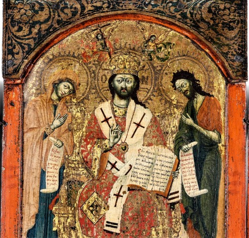"""Greek Triptych depicting the """"Deesis"""" 17th century  - Religious Antiques Style Louis XIII"""
