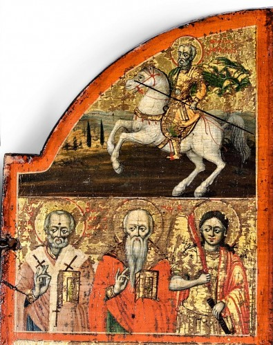 """Greek Triptych depicting the """"Deesis"""" 17th century  -"""