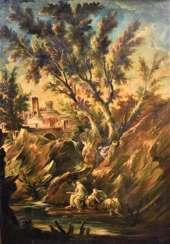Fantastic Landscape -  Alessandro Magnasco  (Gênes 1667 - 1749)  - Paintings & Drawings Style Louis XIV