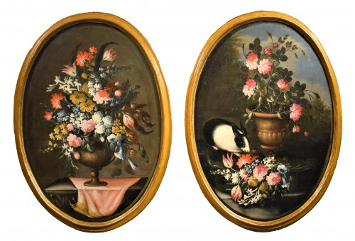 Pair of still lifes with floral compositions,  Giacomo Nani (Naples 1698-1755)