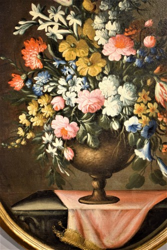 Paintings & Drawings  - Pair of still lifes with floral compositions,  Giacomo Nani (Naples 1698-1755)