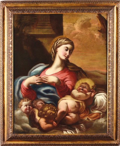 Madonna and Child - workshop Domenico Piola (Genoa 1627-1703) - Paintings & Drawings Style Louis XIV