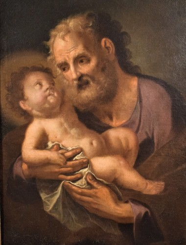 """Saint Joseph with the Child """"Paternity"""" - Paintings & Drawings Style Louis XV"""