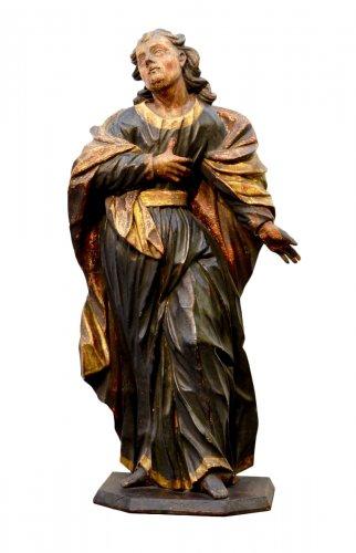Polychrome Wooden Sculpture Depicting 'st.John Apostle' Seventeenth Century