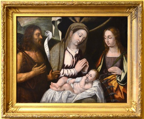 Francesco Da Santacroce (1500-1547) . Virgin with Child and Saints