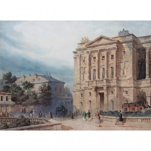 French school of the mid-19th century - View of the Hôtel de Crillon