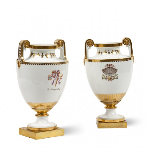 Pair of 19th century Sèvres porcelain vases with attributes - Porcelain & Faience Style Restauration - Charles X