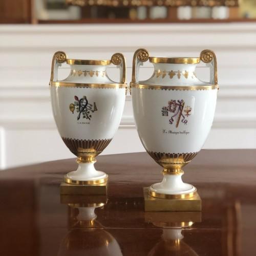 Porcelain & Faience  - Pair of 19th century Sèvres porcelain vases with attributes