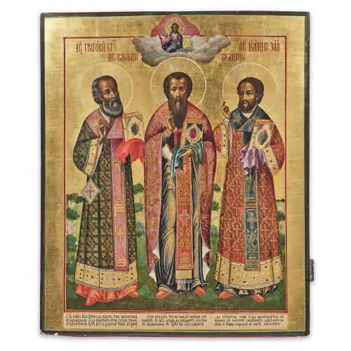 An important Russian icon of the Three Hierarchs, Grigory, Vasily and Ivan