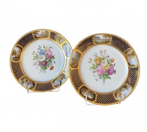 Pair Of Porcelain Plates By Sheet From The Service Of Prince Bourbon-Condé