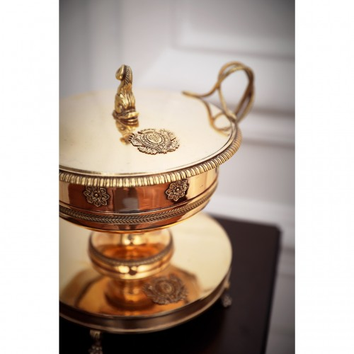 Antique Silver  - Silver-gilt drageoir and its tray with coat of arms of Louis-Philippe