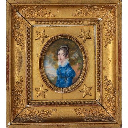 Portrait miniature of the Marquess of Saporiti - SIEURAC (1781-1832) - Objects of Vertu Style Restauration - Charles X