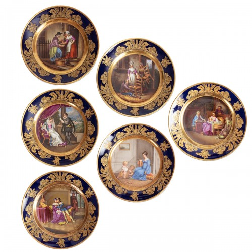 Set of 6 Paris porcelain plates by Dagoty