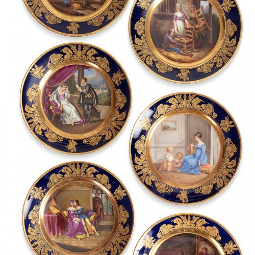 Set of 6 Paris porcelain plates by Dagoty - Porcelain & Faience Style Restauration - Charles X